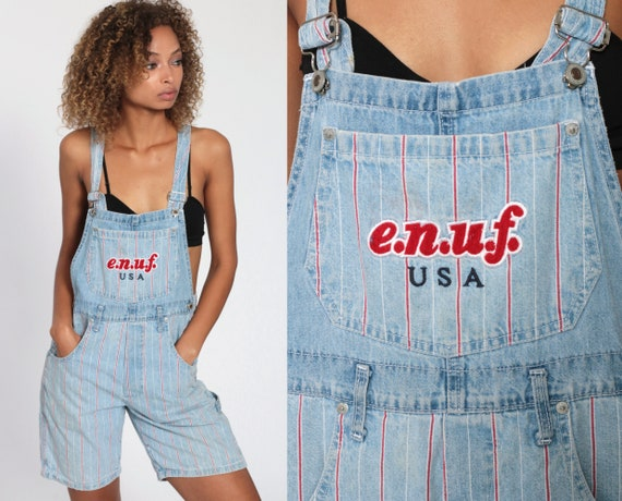 Bib Overalls 90s Denim STRIPED Shorts Jeans Shortalls Women ENUF Grunge 1990s Blue Red Streetwear Utility Vintage Small