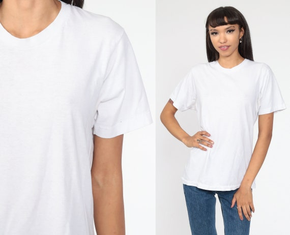 Plain White Tshirt Vintage White Tee Shirt 80s T Shirt Paper Thin Shirt Basic Normcore 1980s Single Stitch Medium Large