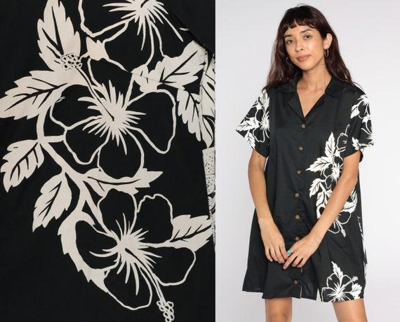 Hawaiian Mini Dress 80s Black White Floral Dress Shift Dress 1980s Button Up Tropical Dress Vintage Bohemian Short Sleeve Extra Large xl