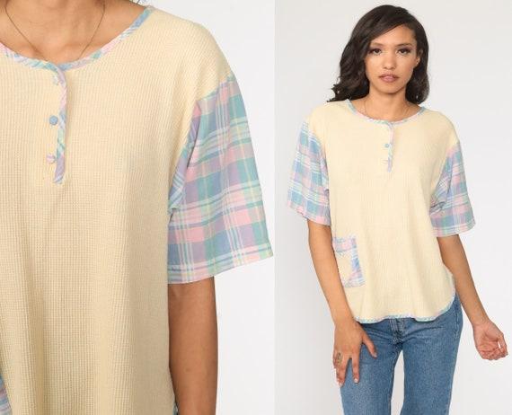 Vintage Thermal Shirt Plaid Cream Undershirt Short Sleeve Shirt Henley Shirt 80s T Shirt Retro Tee Vintage Tshirt 90s Large xl l