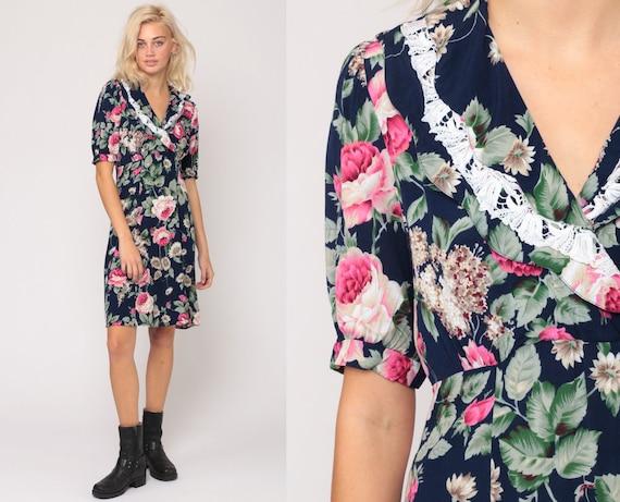 Floral GRUNGE Dress 80s Mini BABYDOLL Dress Empire Waist Dress Short Puff Sleeve Pink Blue 90s Vintage Minidress Medium
