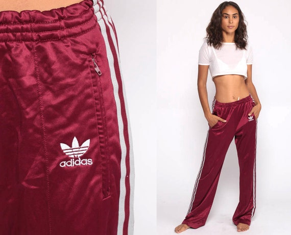 Adidas Track Pants 80s Gym Jogging Running Burgundy Striped Track Suit 1980s Sports Vintage Retro Streetwear Small