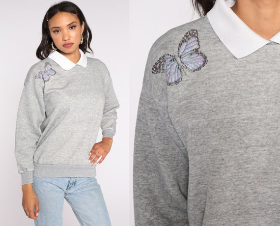 Collared BUTTERFLY Sweatshirt 90s Grey Graphic Sweatshirt 80s Sweater Vintage Shirt Medium