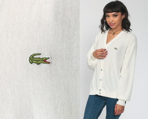 Off-White Lacoste Sweater 80s Cardigan Button Up IZOD Crocodile Acrylic Knit Cream Slouchy Vintage 1980s Preppy Medium Large