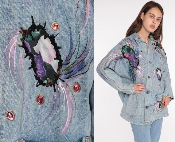 90s Denim Jacket Painted Beaded Jacket ACID WASH Jean Jacket Glitter Jacket Vintage Jacket Button Up Blue 1990s Oversize Medium Large xl