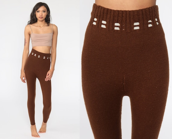 70s Knit Pants Brown Knit Leggings High Waisted P… - image 1