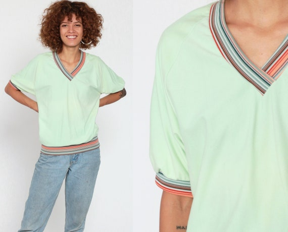 Green Slouchy Shirt 80s Short Sleeve Top 70s Top V Neck Shirt Slouch Ringer Tee Lime 1980s Retro Tee Stranger Things Vintage Small