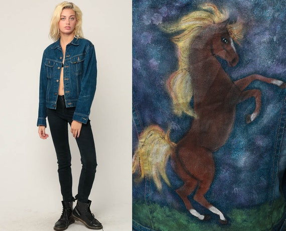 80s Jean Jacket HORSE Jacket Denim Jacket HAND PAINTED Blue Stone Wash Lee Oversized 1980s Vintage Biker Hipster small