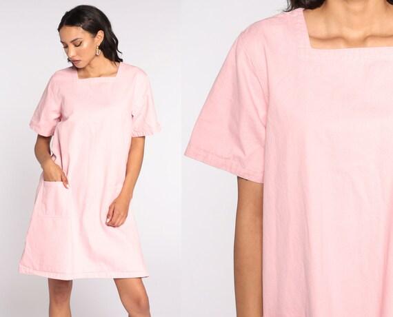 90s Mini Dress Baby Pink Dress Pocket Dress 1990s MiniDress Short Sleeve Plain Shift Tent Dress Extra Large xl
