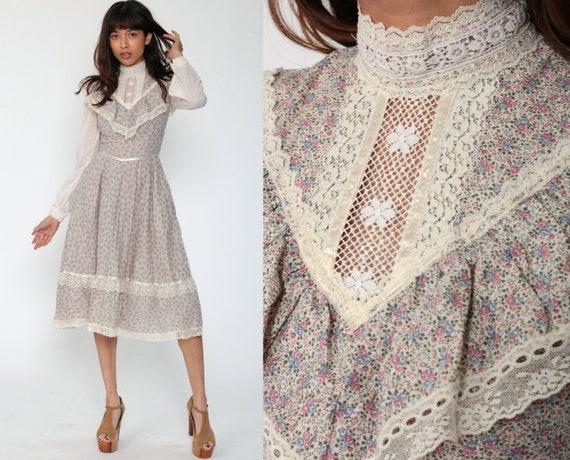 70s Gunne Sax Dress Midi PRAIRIE Floral Crochet LACE COLLAR Boho 1970s High Waist Vintage Long Sleeve Beige Bohemian Extra Small xxs 2xs