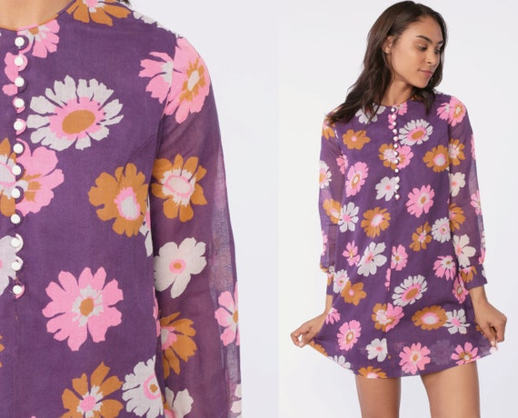 Flower Power Dress Purple Floral 70s Mini Mod Vintage Twiggy Gogo Button Up Long Sleeve 1970s Go Go Minidress Sheer Sleeves Small Medium 6 8