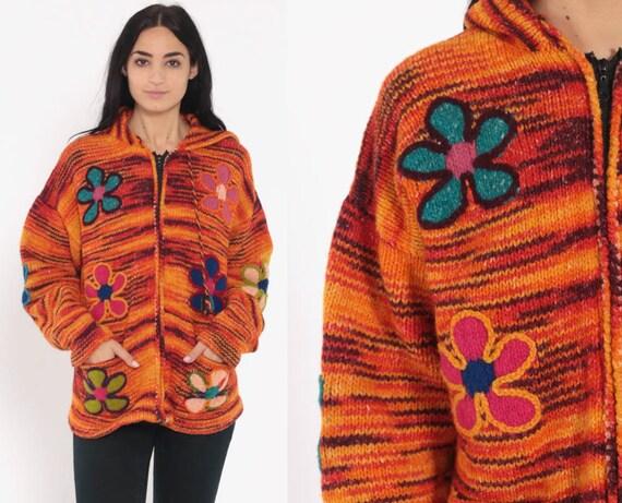 Ecuadorian Wool Sweater Jacket 90s Flower Power Cardigan HOODED Sweater Hoodie Retro Boho Zip Up Knit Bohemian Vintage Small Medium Large