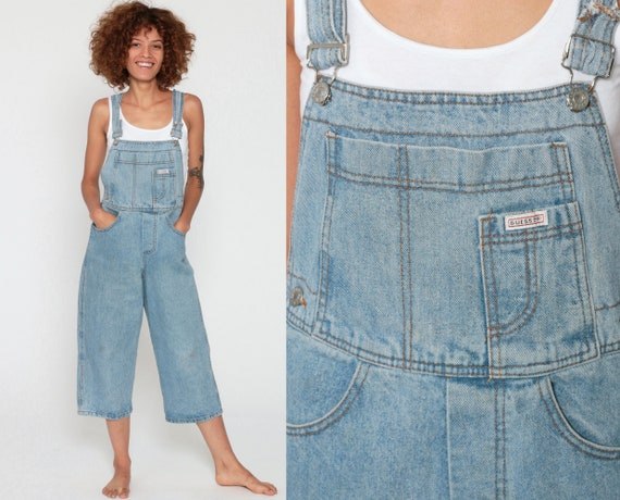 Guess Overalls xxs 90s Denim Cropped Capri Overalls Baggy Jean Pants 1990s Light Blue Vintage Jumpsuit Carpenter Extra Small 2xs