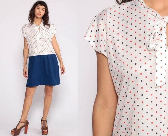 Ascot Dress XL -- 70s Mini Plus Size Necktie Secretary Mod Polka Dot Dress Shift Bohemian Bow Vintage Dark Blue Cap Sleeve Extra Large xxl