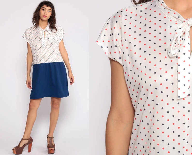 Ascot Dress XL 70s Mini Plus Size Necktie Secretary Mod | Etsy