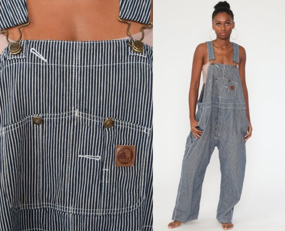 Denim STRIPED Overalls Grunge 90s Bib Overalls Jean Conductor Overalls Berne Dungarees Wide Leg Pants Vintage Men's 2xl xxl