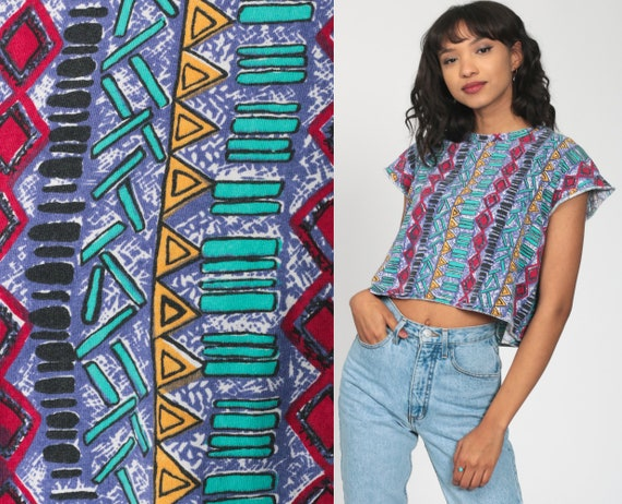 Southwest Crop Top Surfer Tribal T Shirt 80s Surf Aztec TShirt 1990s Tee Top Graphic Cropped Vintage 90s Cap Sleeve Tee Small Medium