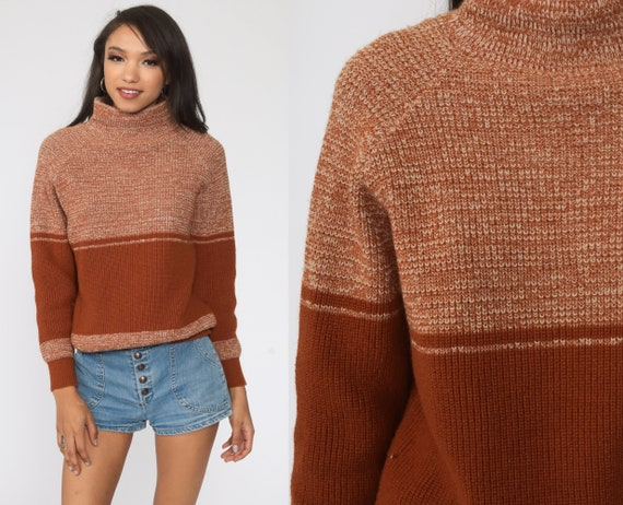Brown Space Dye Sweater 70s Sweater Knit Pullover Mock Neck Sweater Color Block Striped Bohemian Hippie Vintage Medium