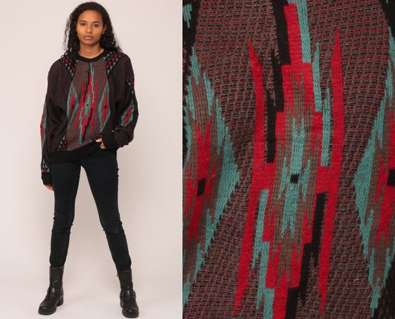 Geometric Sweater 80s Tribal Print Knit Jumper Boho Sweater Hipster Statement Vintage Pullover Bohemian Retro Black Red Blue Large