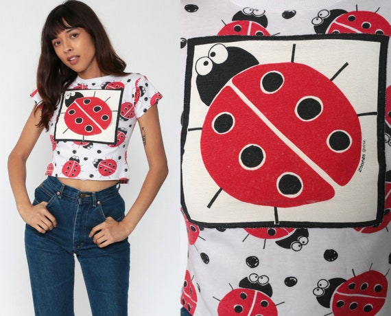 Ladybug Shirt Crop Top Insect Shirt Beach Tshirt Cropped T Shirt 90s All Over Print Bug Kawaii Vintage 1990s Graphic Retro Extra Small xxs