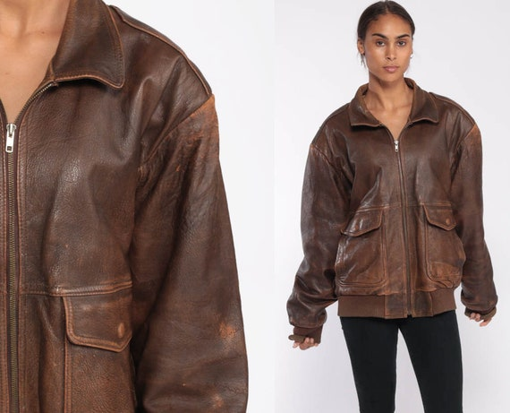 Leather Bomber Jacket Brown Leather Biker 80s Moto Coat Motorcycle Cafe Racer Jacket Flight Distressed 1980s Vintage Retro Extra Large xl