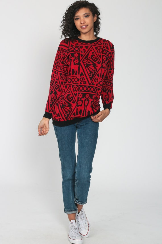 Deer Sweater 80s Red Floral Animal Print Slouchy … - image 2