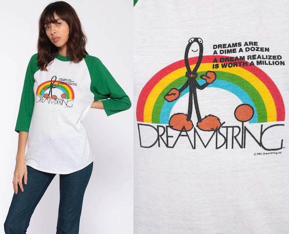 Rainbow Dreamer Shirt 80s Dreamstring Retro TShirt Graphic Shirt Vintage T Shirt 70s Tee Slogan Long Sleeve Raglan Tee Small