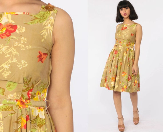 1960s Floral Dress PLEATED Dress Mad Men 60s COTTON Day Dress 50s Dress Vintage Garden Party Sleeveless Knee Length Extra Small xs