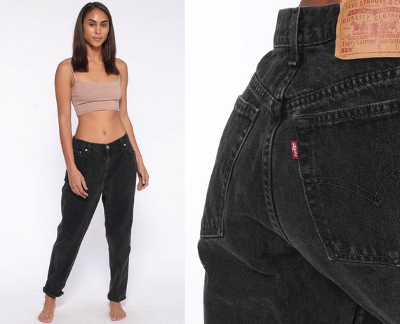 Black Levis Jeans 30 -- Mom Jeans 90s High Waist Jeans 80s Jeans Levi Denim Pants 550 Vintage Hipster Tapered Slim Relaxed Fit Medium 30