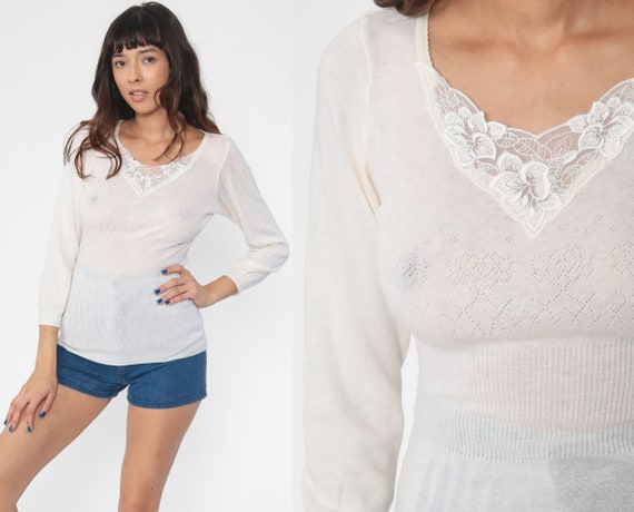 Sheer Off-White Sweater Lace Trim Boho Sweater 70s Knit Sweater Bohemian CUTOUT Sweater 80s Pullover Cut Out Vintage Jumper Small Medium