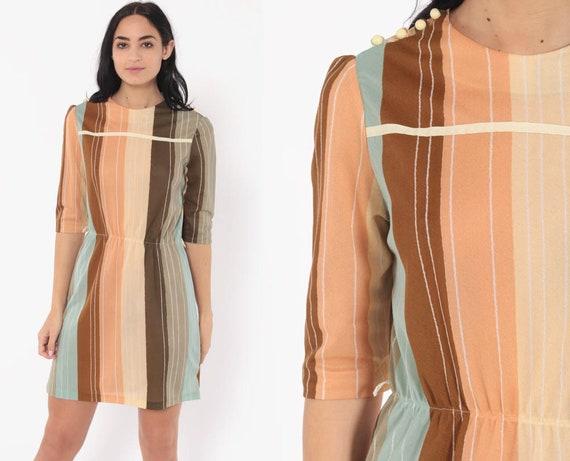 Striped Puff Sleeve Dress 70s Mini Button Shoulder 80s Bohemian High Waisted Boho Secretary Blush Tone Vintage Peach Minidress Small