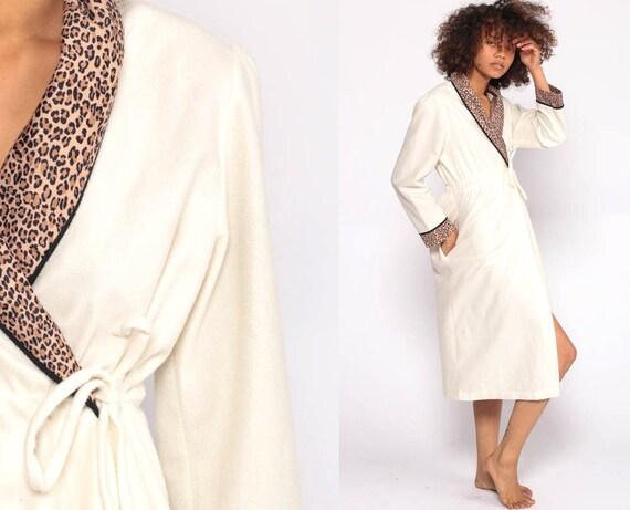 Fleece Robe 80s Dressing Gown LEOPARD PRINT Pajama Robe Puff Sleeve Ivory Lounge Wear Robe Midi Belted Wrap Loungewear Extra Small xs