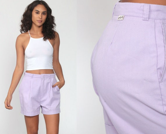 Purple Pleated Shorts 80s DEE CEE Pastel Mom Shorts High Waist Shorts 1980s Vintage Trouser Cotton Cuffed Shorts Lavender Summer Small