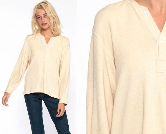 Henley Shirt Long Sleeve Shirt 70s UNDERSHIRT T Shirt WOOL 1970s Grunge Polo Shirt Plain Top Tshirt Retro Tee Vintage Cream Large