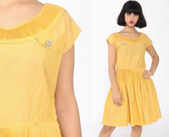 1960s Party Dress Yellow Prom Dress 60s Mini Formal Pleated RHINESTONE Fit and Flare Vintage Mad Men Cocktail 50s Full Skirt Small