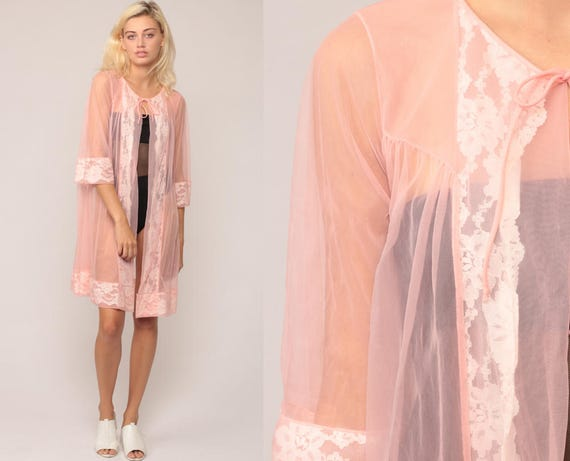 Pink Robe Lingerie Jacket 70s Pastel Sheer LACE Kimono Robe Lingerie Nylon Chiffon Romantic 1970s Vintage Small Medium Large