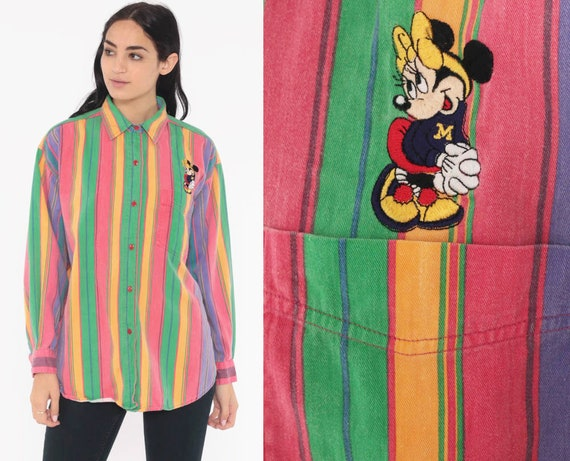 MINNIE MOUSE Shirt Rainbow Button Up Disney Shirt 90s Kawaii Vintage Long Sleeve Striped Grunge Shirt Pink Green 1990s Large