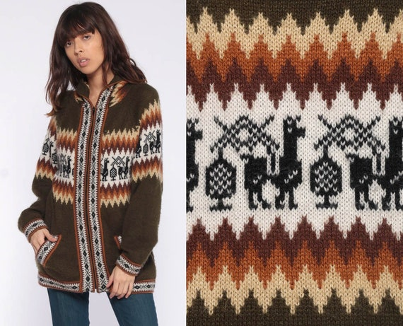 ALPACA Wool Sweater Ecuador Sweater Hooded Zipper Knit Ecuadorian Animal Fuzzy Sweater Ethnic Vintage Tribal Brown South America Small