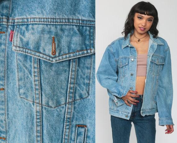 80s Denim Jacket Stallone Jeans Blue Jean Jacket Trucker 1980s Vintage Biker 90s Grunge Coat Medium Large