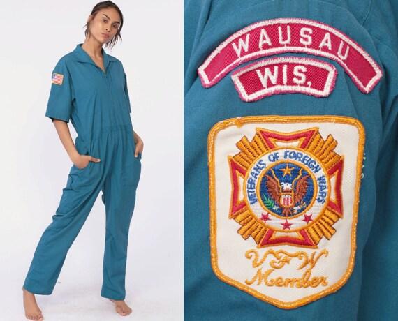 Veteran Boiler Suit Army Coveralls 80s Jumpsuit Blue Suit Military Jumpsuit Zip Up Grunge Pantsuit Vintage Short Sleeve One Piece Small