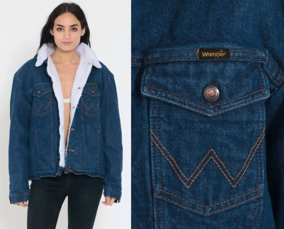 Denim Sherpa Jacket WRANGLER Denim Jacket Shearling 80s Jean Jacket Grunge Biker Coat Dark Blue Coat 1980s Vintage Fleece Large xl