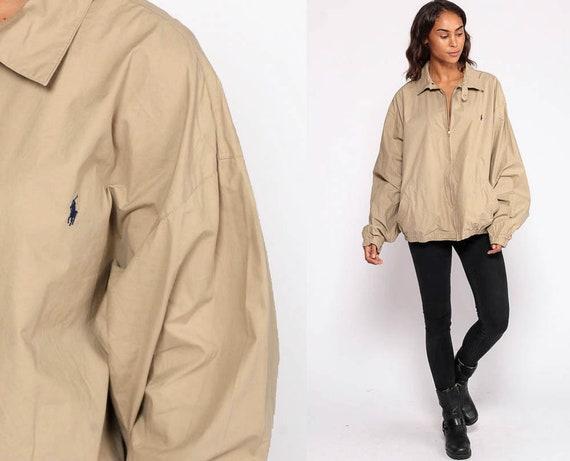 Khaki Jacket Ralph Lauren Jacket Polo Sport Jacket Cotton Retro Sports Plain Tan Bomber Normcore Hipster 90s Preppy Extra Large xl 2xl