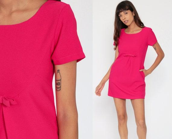 Hot Pink Dress 80s Mini Party BOW Dress Pocket Formal Cocktail Prom Shift 1980s Fuchsia Vintage Short Sleeve Minidress Extra Small xs
