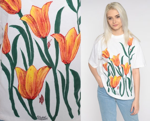 Floral T Shirt Hand Painted Shirt 90s Floral Tee Graphic Barbados Single Stitch Short Sleeve TShirt Vintage Medium