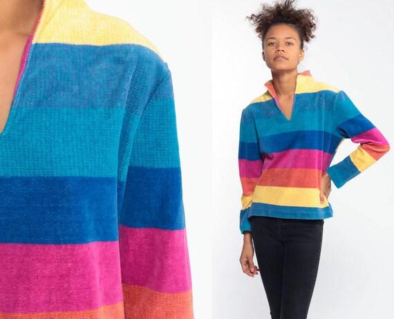 Rainbow VELOUR Shirt 80s Striped Blue Top Yellow Pullover V Neck 1980s Jumper Long Sleeve Pink Medium