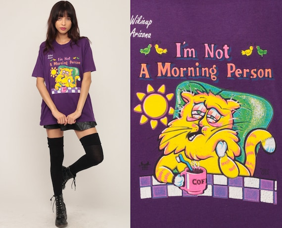 Cat Shirt I'm NOT A MORNING PERSON Tshirt Sleep Shirt 90s Pajama Graphic Print Tee 1990s Vintage T Shirt Joke Retro Extra Large xl