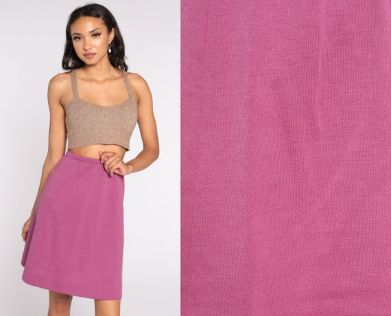 70s Skirt Wool Blend Purple Skirt Mod Knee Length Skirt Straight A Line Skirt High Waisted Retro Vintage 1970s Small xs s