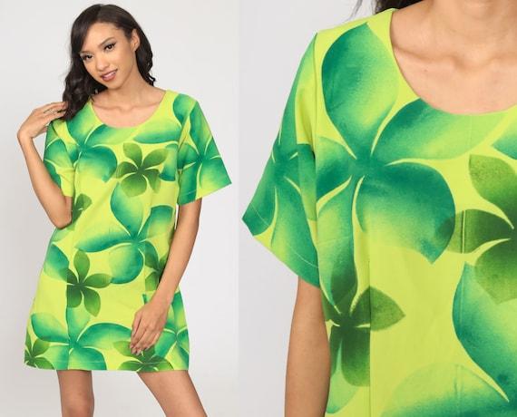 90s Hawaiian Dress Tropical Print Sundress Mini Sh