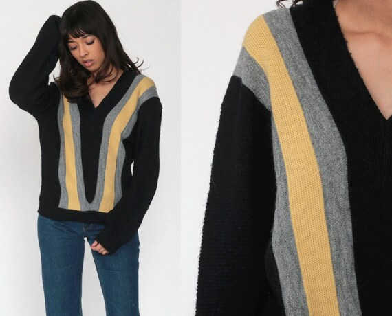 Black Striped Sweater V Neck Sweater Knit Retro Sweater Grandpa 80s Pullover Sweater Vintage Boho Jumper 70s Small Medium