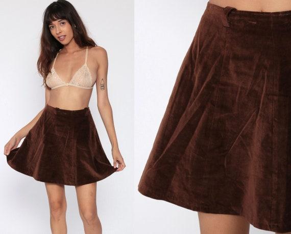 Brown Velvet Skirt 70s Mini High Waist Skirt MiniSkirt Seventies A-Line Party High Waisted Boho Vintage 1970s Boho Retro Bohemian Small 4